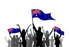 Drapeau d'Australie de prise de foule de silhouette de groupe de personnes illustration libre de droits