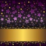 Drapeau d'or avec des curlicues. illustration stock