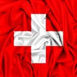 drapeau 3d de la Suisse ondulant dans le vent illustration libre de droits