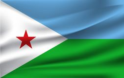 drapeau 3d de ondulation de Djibouti illustration stock