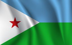 drapeau 3d de ondulation de Djibouti illustration de vecteur