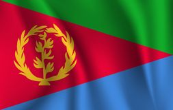 drapeau 3d de ondulation de l'Érythrée illustration stock
