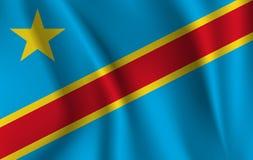drapeau 3D de ondulation de la République démocratique du Congo illustration stock