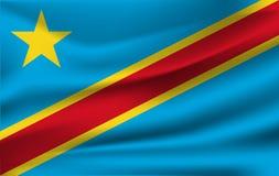 drapeau 3D de ondulation de la République démocratique du Congo illustration de vecteur