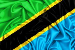 drapeau 3d de ondulation de la Tanzanie Photos libres de droits