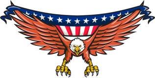 Drapeau d'Eagle Swooping Etats-Unis d'Américain rétro Image stock