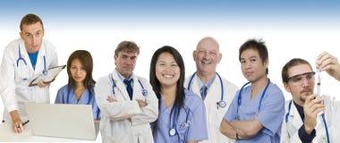 Drapeau d'hôpital avec les médecins et le personnel image stock