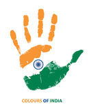 Drapeau d'Inde dans la paume Image libre de droits