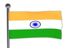 Drapeau d'Inde sur une ondulation de poteau Photos libres de droits
