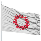 Drapeau d'isolement de préfecture de Saitama Japon sur le mât de drapeau Photographie stock