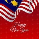 Drapeau d'an neuf heureux Drapeau de ondulation de la Malaisie Fond de flocons de neige Photos libres de droits