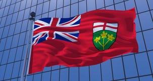 Drapeau d'Ontario, Canada, sur le fond de b?timent de gratte-ciel illustration 3D photo stock