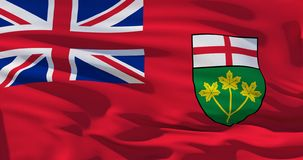 Drapeau d'Ontario, Canada, sur le fond en soie de texture Illustration de la qualité 3D illustration libre de droits