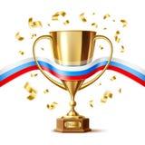 Drapeau d'or réaliste de Russe de tasse de trophée de vecteur illustration stock