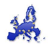 Drapeau d'Union européenne et découpe du pays Image libre de droits