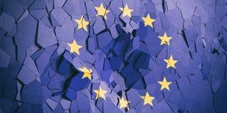 Drapeau d'Union européenne sur le fond criqué de mur illustration 3D illustration stock