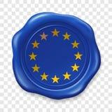 Drapeau d'Union europ?enne E Label r?aliste de timbre de cire de cachetage vieux sur le fond transparent Vue sup?rieure ?tiquette illustration de vecteur