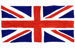 Drapeau d'Union Jack dessiné sur le livre blanc. Photographie stock libre de droits