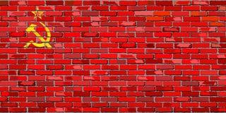 Drapeau d'Union Soviétique sur un mur de briques illustration libre de droits