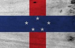 Drapeau de Antilles néerlandaises sur le fond en bois de plat Texture grunge de drapeau Antilles néerlandaises illustration stock