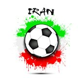 Drapeau de ballon de football et de l'Iran Photos libres de droits