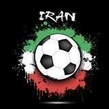 Drapeau de ballon de football et de l'Iran Images stock