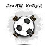 Drapeau de ballon de football et de la Corée du Sud Photographie stock libre de droits