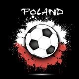 Drapeau de ballon de football et de la Pologne Photographie stock