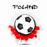 Drapeau de ballon de football et de la Pologne Photos stock
