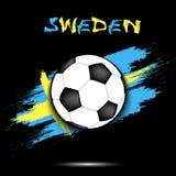 Drapeau de ballon de football et de la Suède Photo libre de droits