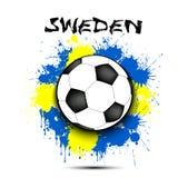 Drapeau de ballon de football et de la Suède Photo stock