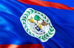 Drapeau de Belize conception de ondulation du drapeau 3D Le symbole national de Belize, rendu 3D Couleurs nationales et drapeau n image stock
