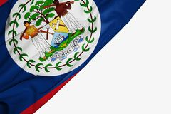 Drapeau de Belize de tissu avec le copyspace pour votre texte sur le fond blanc illustration libre de droits