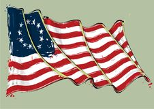 Drapeau de Betsy Ross Artistic Brush Stroke Waving Photographie stock libre de droits