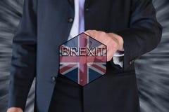 Drapeau de Brexit et d'Eu et un homme d'affaires Image libre de droits