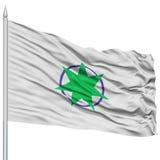 Drapeau de capitale d'Aomori sur le mât de drapeau, volant dans le vent, d'isolement sur le blanc illustration stock