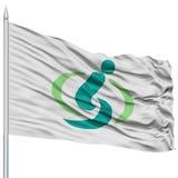 Drapeau de capitale de Saitama sur le mât de drapeau, volant dans le vent, d'isolement sur le fond blanc Images stock