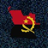 Drapeau de carte de l'Angola sur l'illustration de code de sortilège Illustration Stock