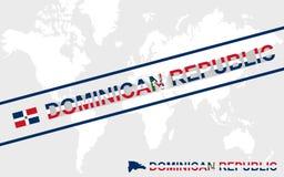 Drapeau de carte de la République Dominicaine et illustration des textes illustration libre de droits