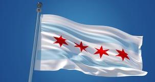 Drapeau de Chicago dans le vent, illustration 3d illustration de vecteur