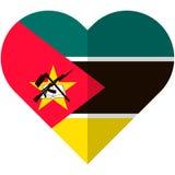 Drapeau de coeur de la Mozambique Photographie stock libre de droits