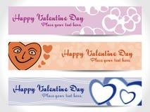 Drapeau de coeur de trois Valentine Image libre de droits