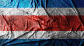 Drapeau de Costa Rica chiffonné par grunge rendu 3d Photos stock