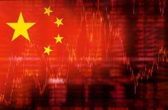 Drapeau de diagramme d'actions de tendance à la baisse de la Chine Photo stock