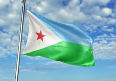 Drapeau de Djibouti ondulant avec le ciel sur l'illustration 3d réaliste de fond illustration stock