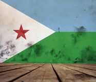 Drapeau de Djibouti sur le mur photographie stock libre de droits