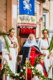 Drapeau de donner loin dans les Moyens Âges avec la princesse sur le défilé Photos libres de droits