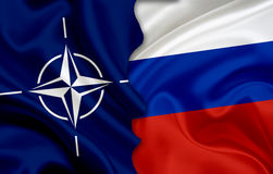 Drapeau de drapeau de NATOand de la Russie Image stock