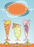 Drapeau de félicitations avec des boissons Photographie stock