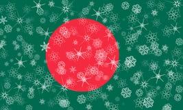 Drapeau de flocon de neige d'hiver du Bangladesh Images libres de droits